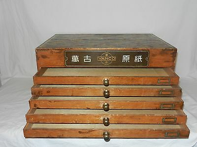 RARE 50s Japanese VANCO Wooden letterpress type cabinet, collectors,advertising
