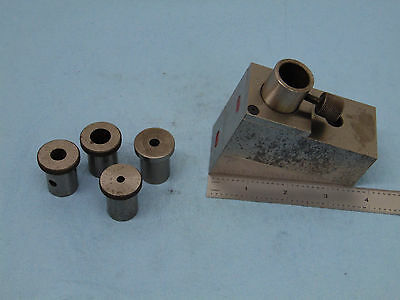 end mill sharpening fixture holds 3/16 , 1/4, 3/8, 1/2, 3/4