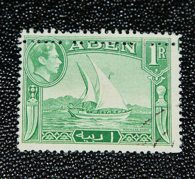 Aden - 1939 1 Rupee Green - Very Fine Used With Major Perforation Error