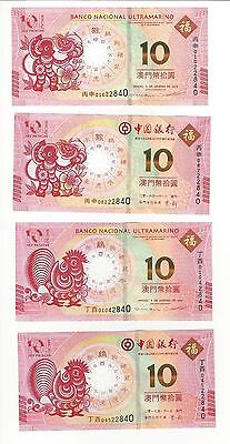 Macau  Set 4 2016 2017  10 Patacas Notes Year Of Monkey & Rooster Both Banks