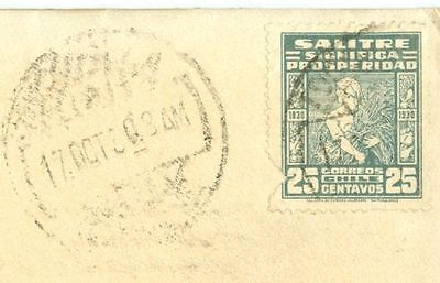 Chile 25c SALITRE Solo / Single used on cover to USA