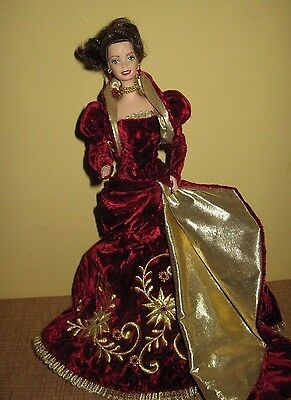 Porcelain Barbie Doll Holiday Ball 1997 Christmas gown stand burgendy gold