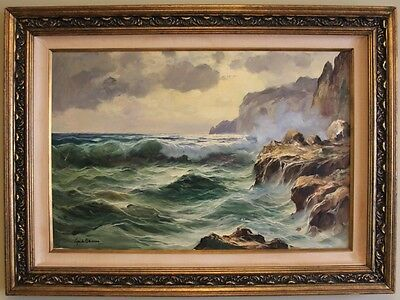 A Large Mediterranean Seascape Oil Painting By Artist Guido Odierna