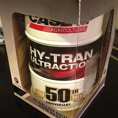 CASE AGRICULTURE HY-TRAN ULTRACTION 55 GALLON DRUM COIN BANK 50th 1ST GEAR