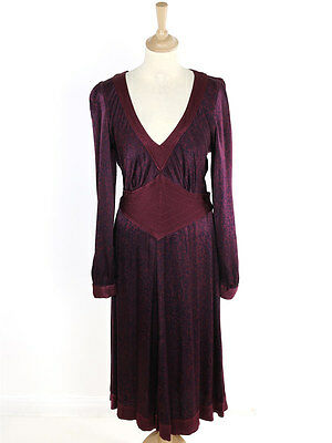 BNWT Ghost Womens Plum Printed Dress Size M (Uk 12)
