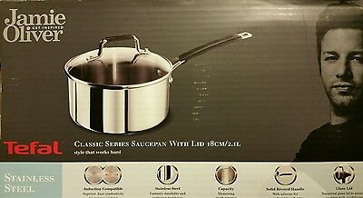 Tefal Jamie Oliver Stainless Steel Classic Series Saucepan and Lid, 18 cm