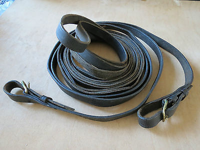 Leather BLACK driving harness reins