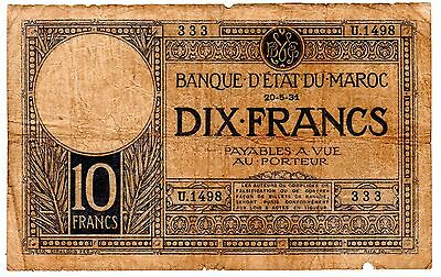 Morocco 10 Francs 1931 See Scan P-17