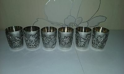 Chinese Export Sterling Silver 6 Drinking tots c1890