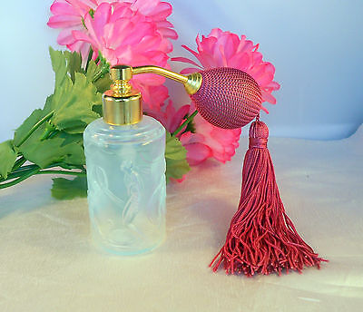 "Sabino Art Glass Perfume Bottle With Atomizer ""Frivolite"" 4 Nude Nymphs Bathing"