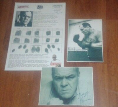 Lenny Mclean Fingerprint Sheet & Signed Pictures. The Guv'nor. Krays. Roy Shaw.