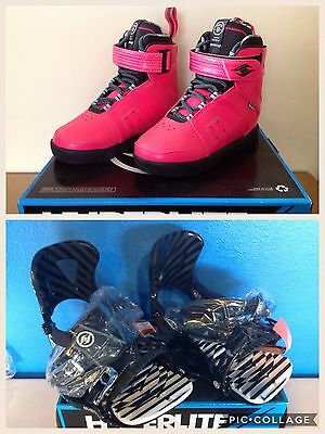 Hyperlite Brighton  Wakeboard boots Size 7 With System Bindings Black 2016