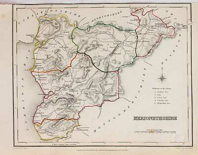 Merionetshire County Hand Coloured Map, Antique Map c. 1848 by Samuel Lewis