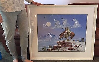 Huge Signed Original 1988 Canvas Painting Native American Artist Johnny Yazzie