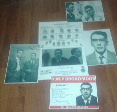 Ronnie Kray Fingerprint Sheet & Signed Pictures. The Krays. Legend.