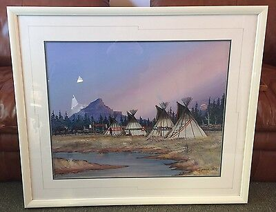 Huge Original 1988 Signed Native American Canvas Painting By Johnny Yazzie