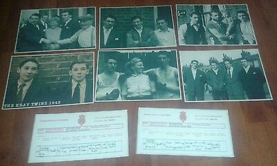 The Kray Twins. 5 Signed Pictures & Birth Certificates. Krays. Legend. Crime.