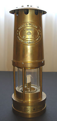 Vintage Antique Thomas & Williams Aberdare Miners Mining Brass Oil Lamp 1986 y.