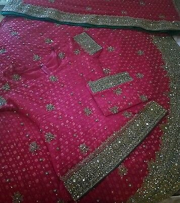 Traditional Red Gold Bridal Wedding Party Outfit Lengha Asian Indian Dress