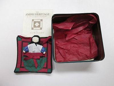 """Amish Heritage Collection 1994 """"One Patch Quilt with Doll"""" Ann M. Dezebdorf. Tin"""