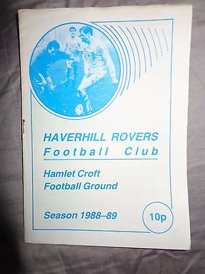 Haverhill Rovers v Stowmarket Town 1988-89 Jewson League 1er Football Programme