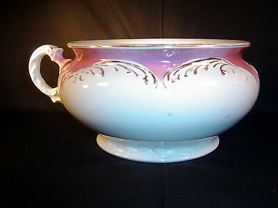 "Antique  V. P. Co.  Rose & White Chamber Pot with Handle  - ""Bonita"""