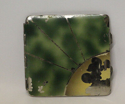 Vintage Silver Plated Ladies Compact Mirror with Powder Green & Gold