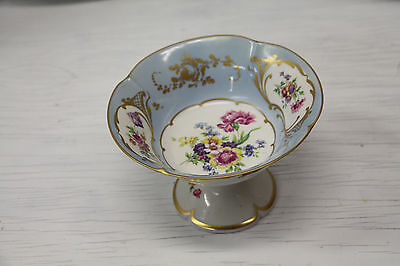 Limoges France Fine Porcelain serving punching/bowl? Gold Trimmed Blue Floral