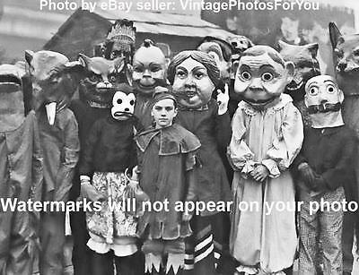 Old/Vintage Odd/Weird/Spooky/Creepy/Strange Masks/Faces Around Kid Photo/Picture