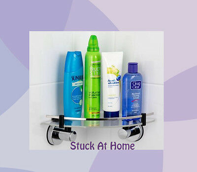 Stainless Steel Suction Corner Shelf with Acrylic Tray - Shower Caddy Bathroom