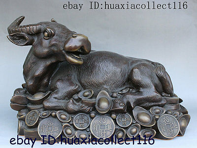 Chinese Fengshui Bronze YuanBao Coin Money Zodiac Horse Animal Statue Sculpture