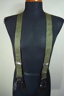 Mens Trafalgar Olive Green Suspenders Silver Clinches Leather EUC Braces England