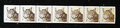 Scott #4802 Bobcat  Strip of 7 with Plate # Mint Never Hinged  free shipping
