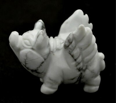 Hand Carved Gemstone Flying Pig - Howlite - Collectible- Very Loving!