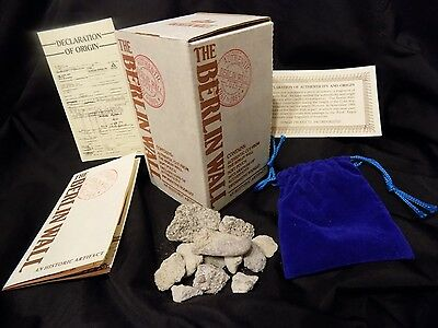 Authentic 1989 Berlin Wall Cut Artifacts with Pouch & Authenticity & Booklet