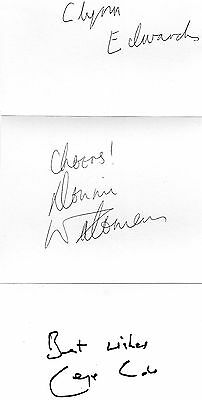 Authentic Signed Minder  6 X 4 Cards..real Signatures..cole Edwards Waterman.coa