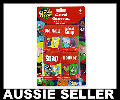 PACK OF 4 x KIDS CHILDRENS SNAP CARD GAMES OLD MAID ANIMAL DONKEY SNAP PARTY BAG