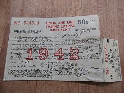 1942   Ohio Resident Hook and Line Fishing License