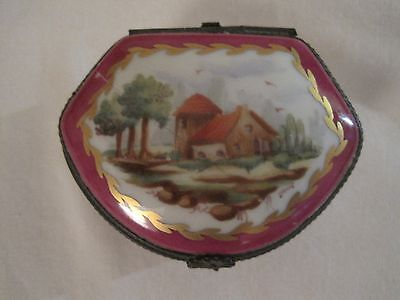 Limoges  France Trinket Box Beautiful House & Trees  2 1/2''wide 1'' Tall