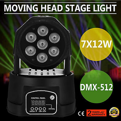 RGBW 7x12W LED Moving Head Stage Par Light 4in1 Led Lamp Sound Active DMX Bar