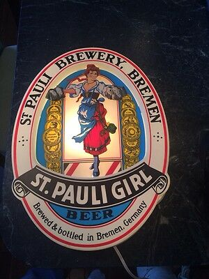 St. Pauli Girl Beer Electric Illuminated sign 1985 RARE vtg hard to find