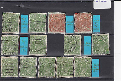 STAMPS..Australia , KGV, one penny green , & 5 d , brown , variaties , used
