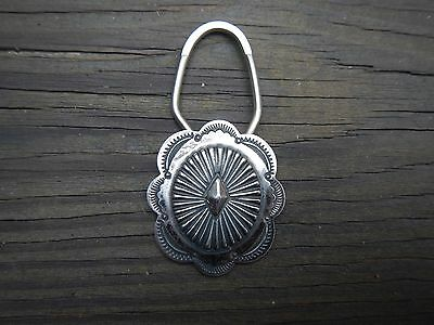 Vintage Hand-Stamped Silver Concho Navajo Key Ring