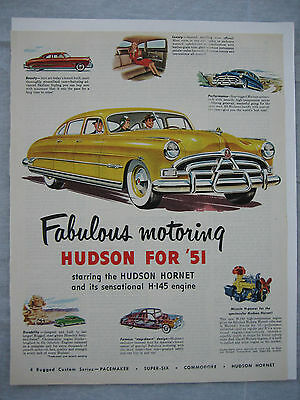 Vintage Print Advertising Automobile / Car Hudson Hornet From Collier's 1951