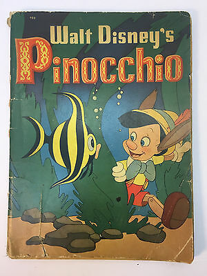 1939 - Whitman #709 - Disney Pinocchio Children's Book w/ Pictures to Color