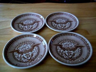 """4 Alfred Meakin Fair Winds Permanent Colors 4 1/4"""" Coasters, Butter Pat Dishes"""