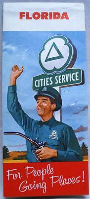 Cities Service Gas Station State Of Florida Highway Road Map 1958 Vintage