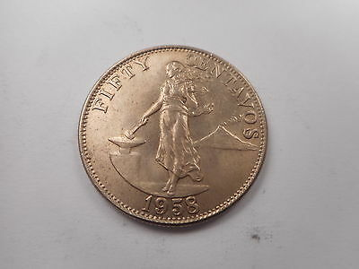 1958 Philippines Fifty Centavos Nice Exceptional Album Collector Coin - # 011904