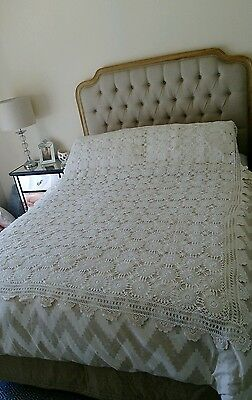 Vintage Crochet White Table cloth