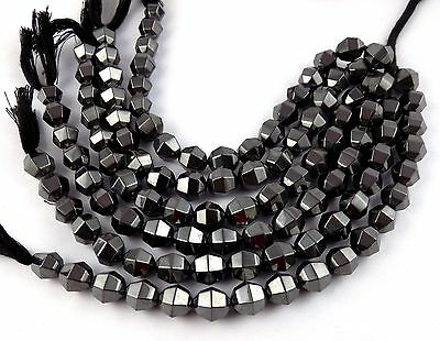 Lovely 2 Strands Natural Hematite Gemstone Faceted Cut Beads For Making Jewelry